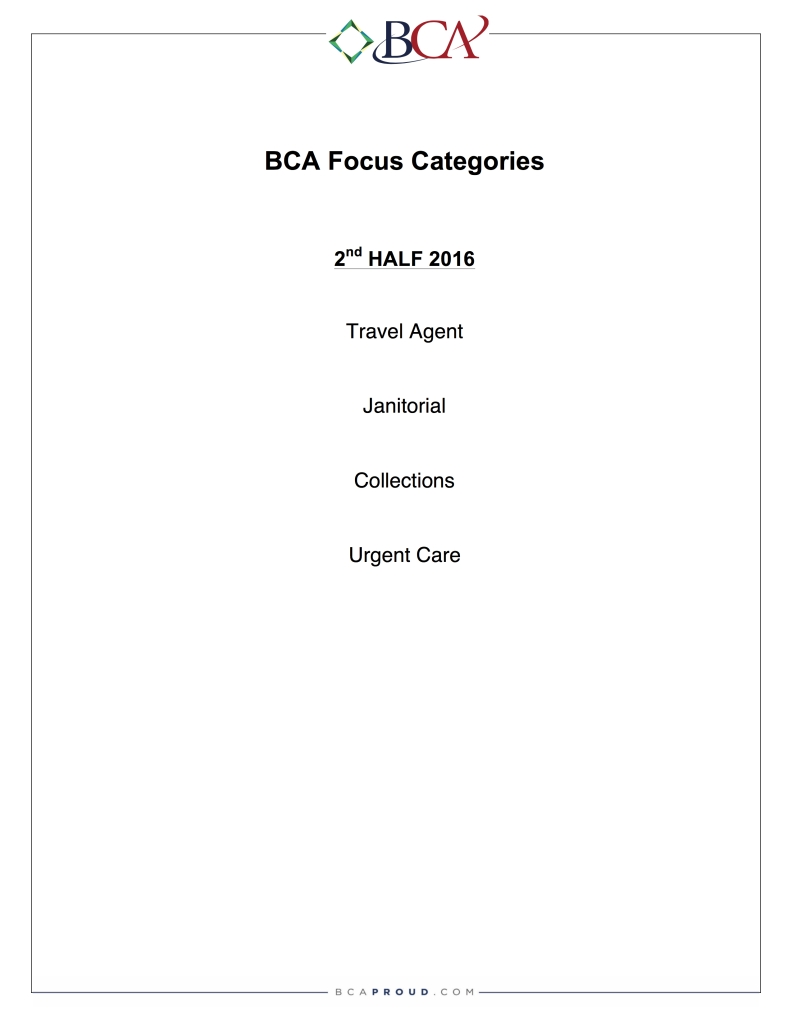 BCA Focus Categories-2016 2nd Half